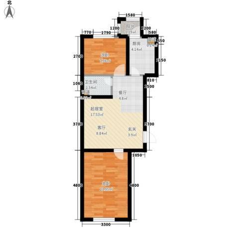 金嘉水岸2室0厅1卫1厨54.31㎡户型图