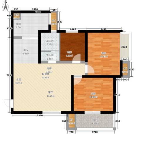 卡布奇诺国际社区3室0厅2卫1厨111.00㎡户型图