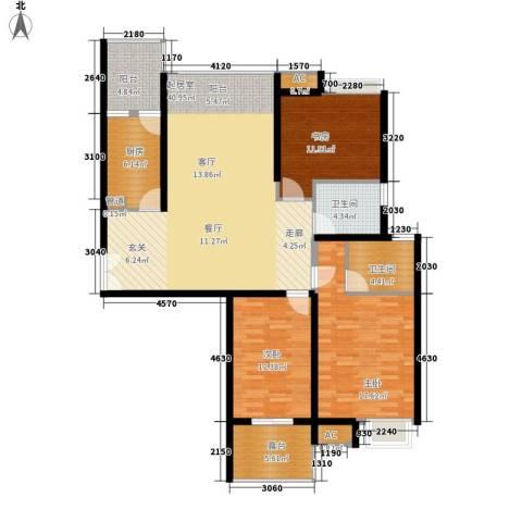 新兴骏景园三期3室0厅2卫1厨128.00㎡户型图