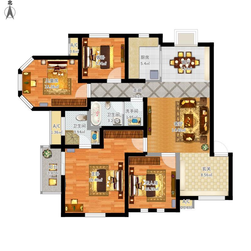 普罗旺世罗蔓维森HX-03四室两厅两卫158.28平