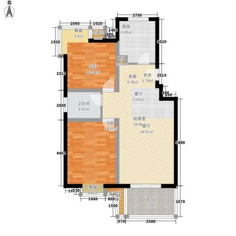 金科天籁城紫园2室0厅1卫1厨84.92㎡户型图