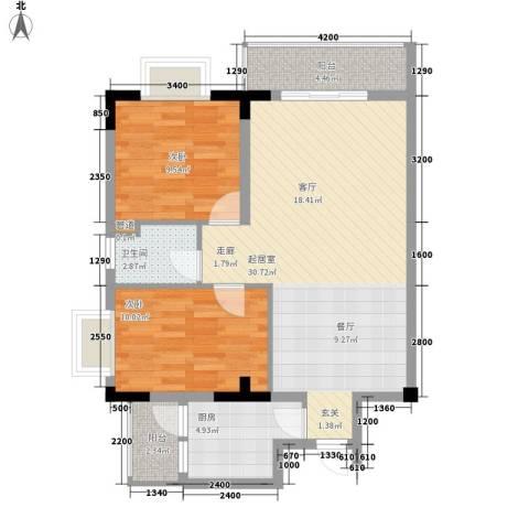 汇丰国际度假公寓2室0厅1卫1厨89.00㎡户型图