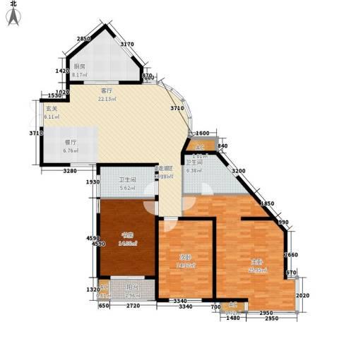 华门明筑3室0厅2卫1厨131.00㎡户型图