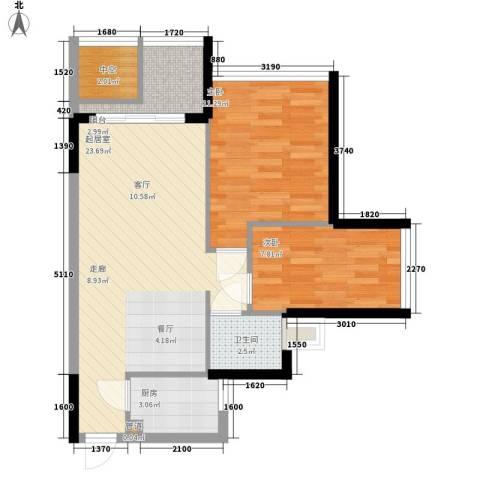 阳光花地2室0厅1卫1厨76.00㎡户型图