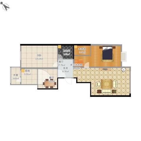 太阳大厦1室2厅1卫1厨112.92㎡户型图