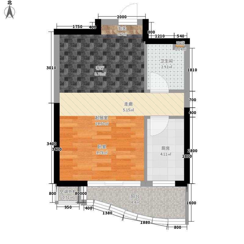 中冶玉带湾51.60㎡玉带湾3#、5#楼C户型1室1厅