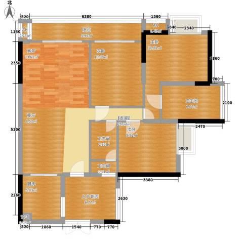 富力现代广场3室0厅3卫1厨99.00㎡户型图