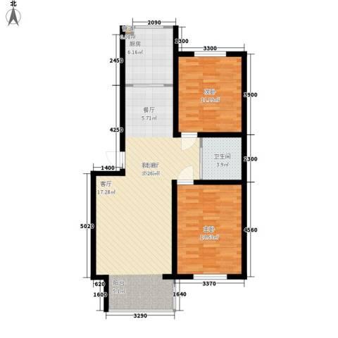 德意名典2室1厅1卫1厨88.00㎡户型图