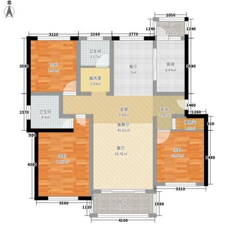 贝越高行馨苑3室1厅2卫1厨114.00㎡户型图