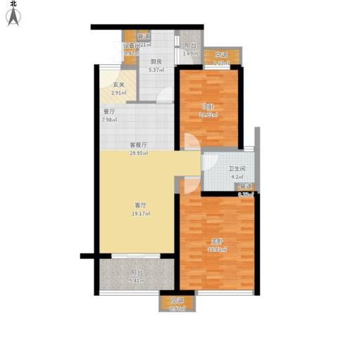 海伦春天2室1厅1卫1厨111.00㎡户型图