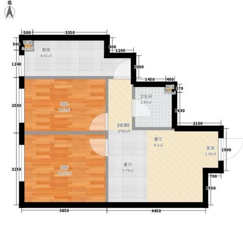 明城・新北市2室0厅1卫1厨65.00㎡户型图