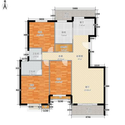 香樟雅郡3室0厅2卫1厨164.00㎡户型图