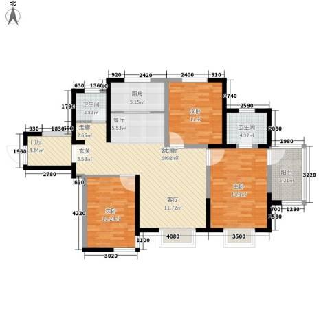暻秀天下3室1厅2卫1厨122.00㎡户型图