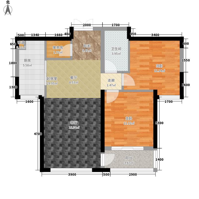 中冶玉带湾96.32㎡玉带湾23号楼B户型2室2厅