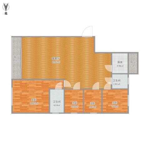 风和日丽4室1厅2卫1厨109.04㎡户型图