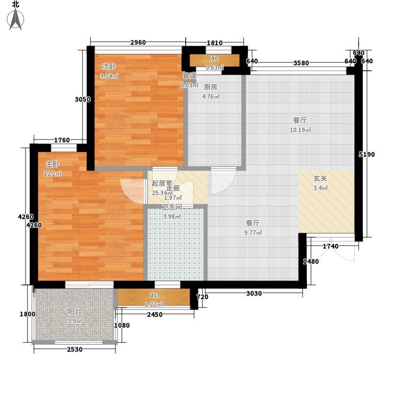 岭地金居75.00㎡岭地金居户型图一期B-1户型2室2厅1卫户型2室2厅1卫