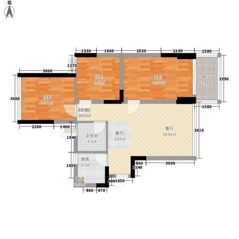 阳光花地3室0厅1卫1厨89.00㎡户型图