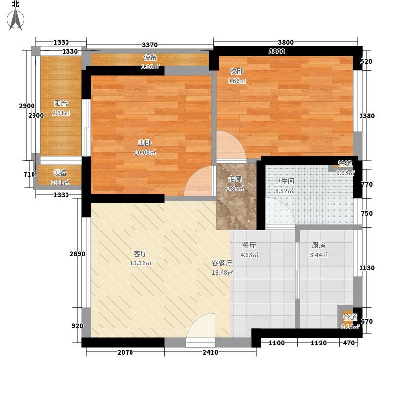 交大绿岭86.00㎡二期C7型户型2室2厅1卫1厨