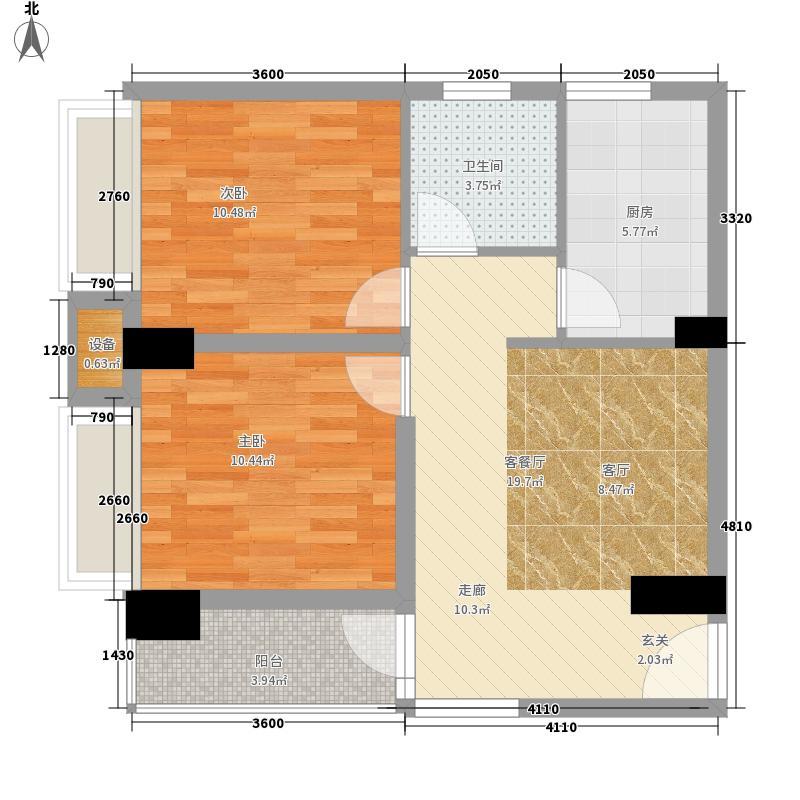 天宁・牧海4幢1、3单元0401号房户型2室1厅1卫1厨