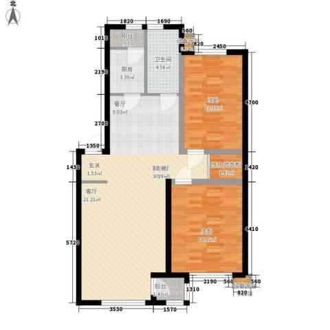 咖啡小镇二期2室1厅1卫1厨110.00㎡户型图
