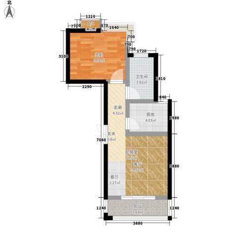 天朗西子湖1室0厅1卫1厨55.00㎡户型图