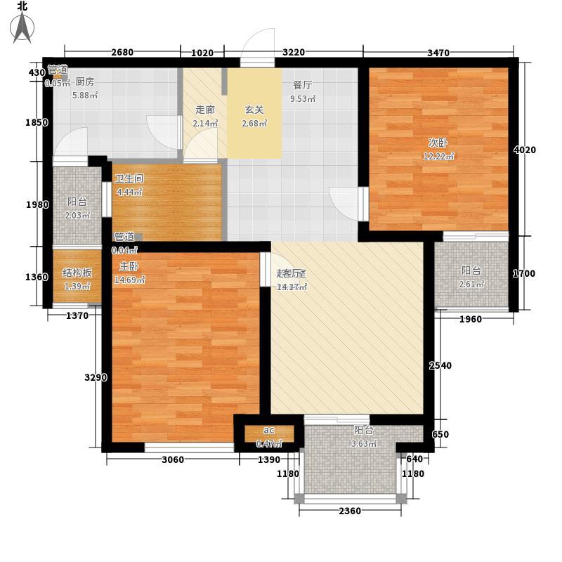 绿地公园壹品88.00㎡绿地公园壹品户型图B户型2室2厅1卫1厨户型2室2厅1卫1厨