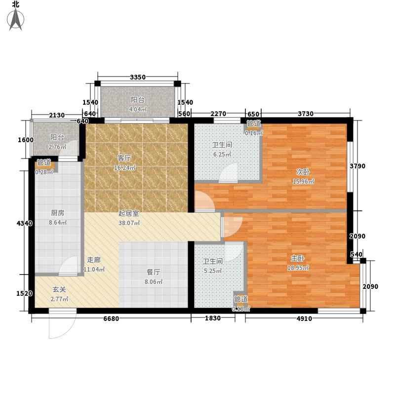 北苑家园秀城112.83㎡201号楼01户型2室2厅2卫1厨