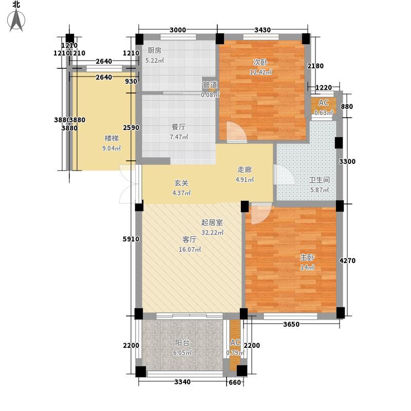 正元香槟城88.50㎡一期2号楼K户型2室2厅1卫1厨