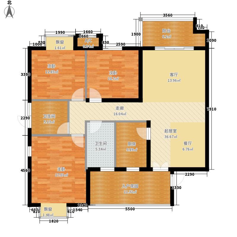 九华春天里127.20㎡标准层A户型3室2厅2卫1厨