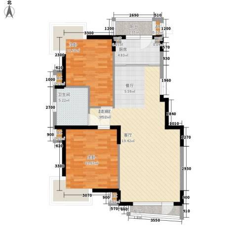 天嘉水晶城2室0厅1卫1厨108.00㎡户型图