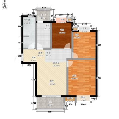 东亚马赛公馆3室0厅1卫1厨132.00㎡户型图