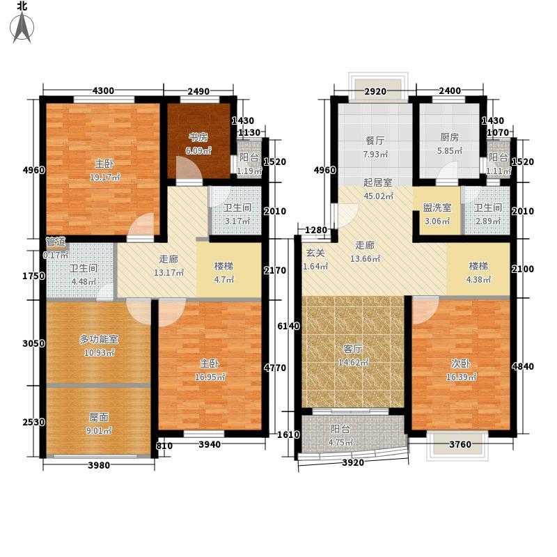 鸿发家园180.00㎡K户型4室2厅3卫1厨