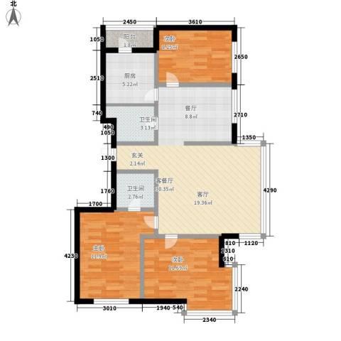 绿海华庭3室1厅2卫1厨86.00㎡户型图