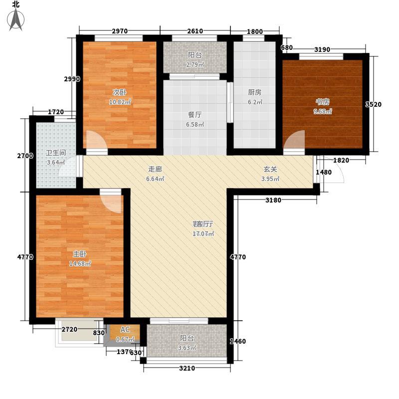 银丰唐郡124.00㎡D1户型3室2厅