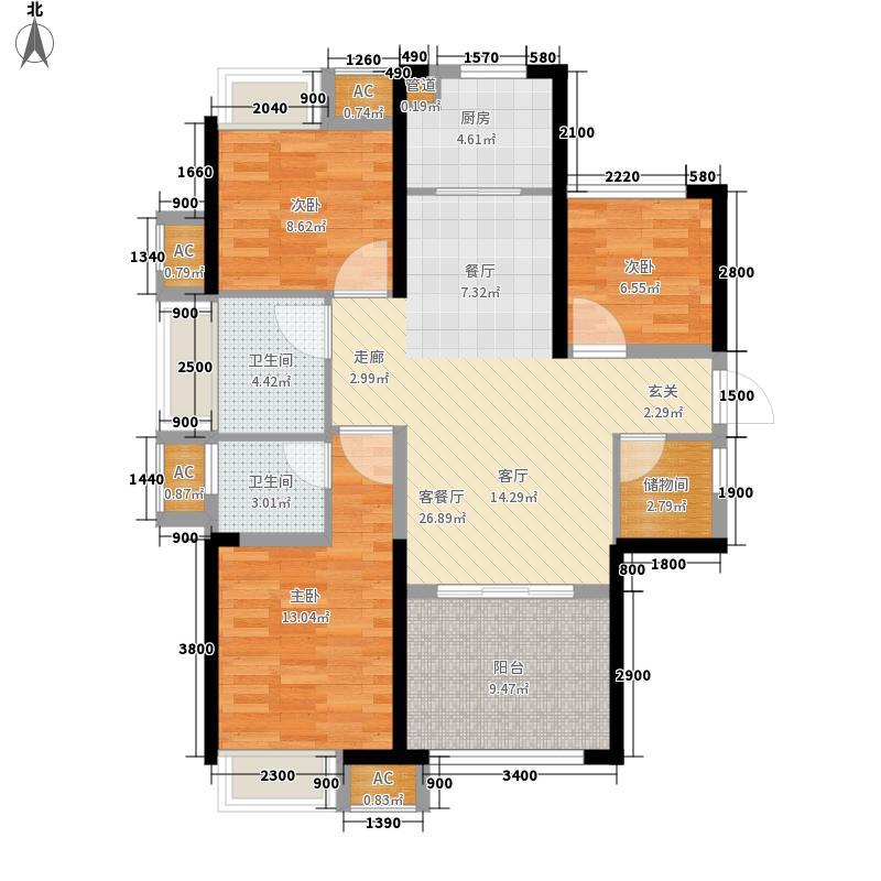 世茂・茂御府15.30㎡A1-A2号楼C1户型3室2厅2卫1厨