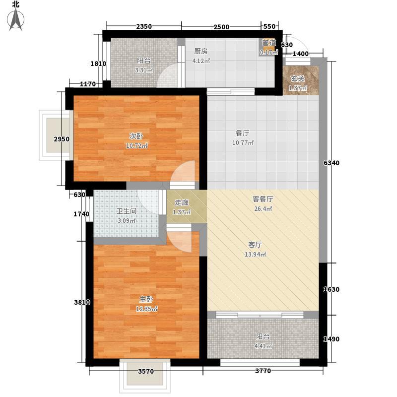 丰润花园F户型:两房两厅一卫,98.73平米_调整大小户型2室2厅1卫