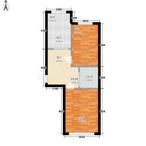德意名典2室0厅1卫1厨69.00㎡户型图
