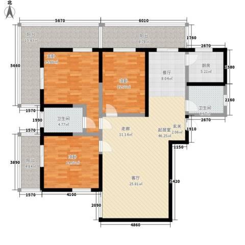 皇冠山庄3室0厅2卫1厨150.00㎡户型图