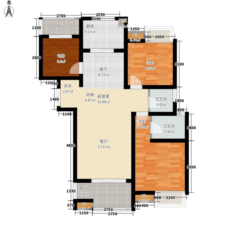 紫翰庭院户型图h 3室2厅2卫1厨