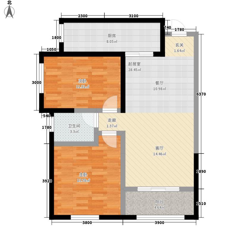 十里店安百公司家属院F户型:两房两厅一卫,98.73平米_调整大小户型2室
