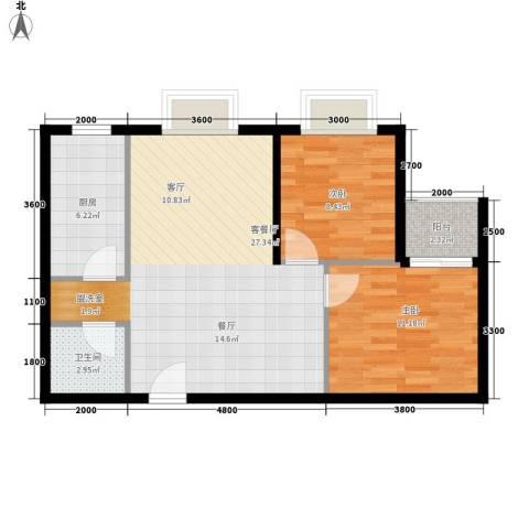曲江上郡2室1厅1卫1厨83.00㎡户型图