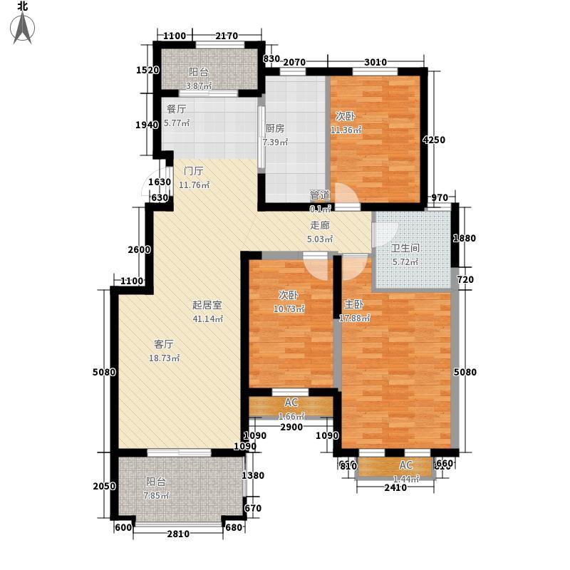 威尼斯水城111.00㎡十四街区08、09幢标准层3-B户型3室2厅1卫