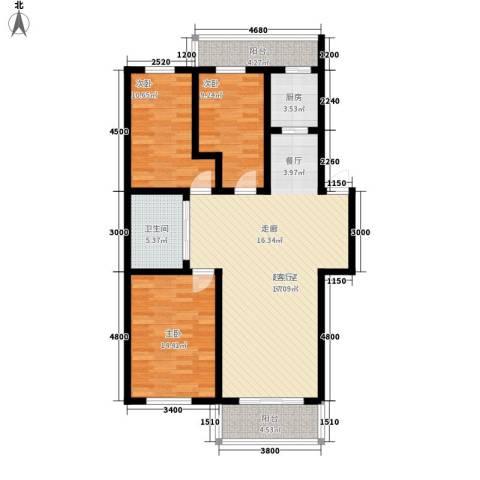 宏胜花园3室0厅1卫1厨105.00㎡户型图