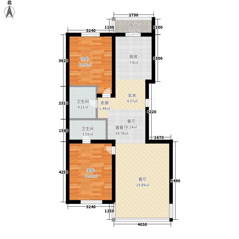 绿海华庭86.30㎡绿海华庭户型图高层F户型2室2厅2卫1厨户型2室2厅2卫1厨