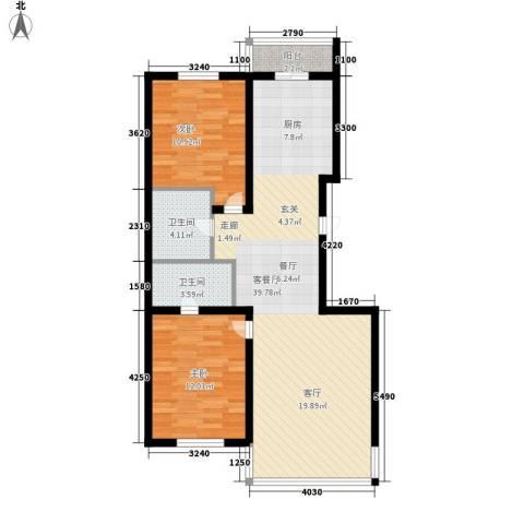 绿海华庭2室1厅2卫0厨82.41㎡户型图