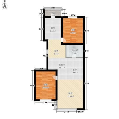 绿海华庭2室1厅1卫0厨73.36㎡户型图