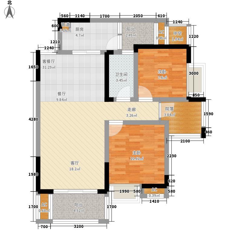 国际社区江御6号楼标准层E户型2室2厅