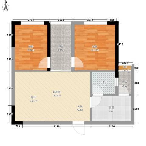 森柯一馨园2室0厅1卫1厨59.00㎡户型图
