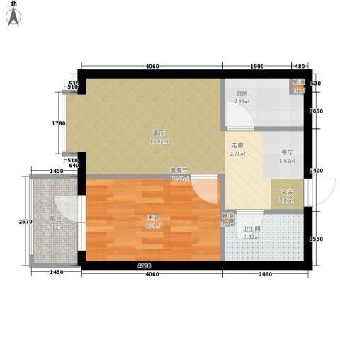 民生国际1室1厅1卫1厨40.00㎡户型图