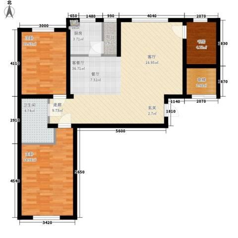 咖啡小镇二期3室1厅1卫1厨114.00㎡户型图